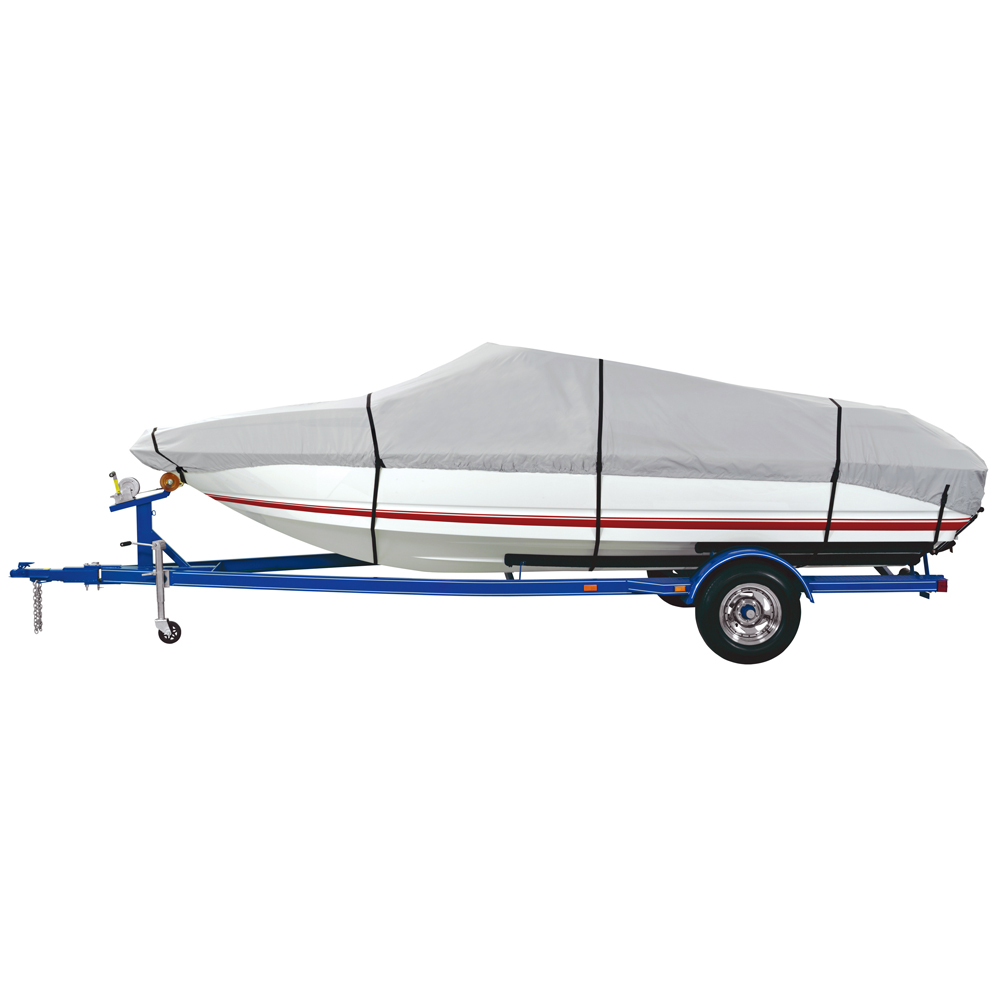 Dallas Manufacturing Co. 600 Denier Grey Universal Boat Cover - Model C - Fits 16'-18.5' - Beam Width to 94