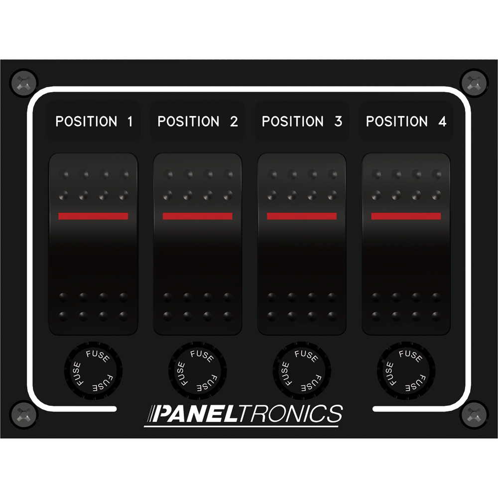 Paneltronics Waterproof Panel - DC 4-Position Illuminated Rocker Switch & Fuse