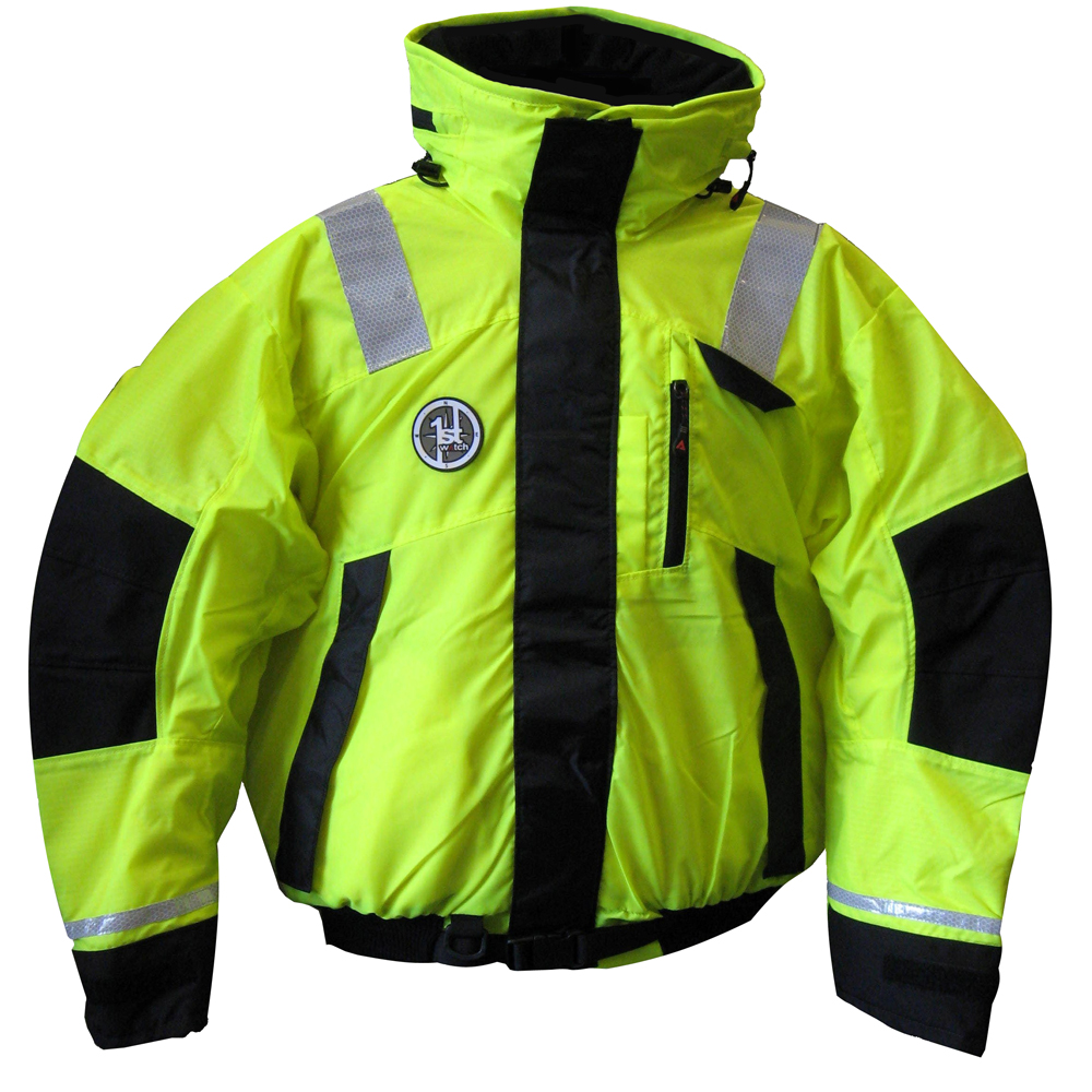 First Watch Hi-Vis Flotation Bomber Jacket - Hi-Vis Yellow/Black - Medium