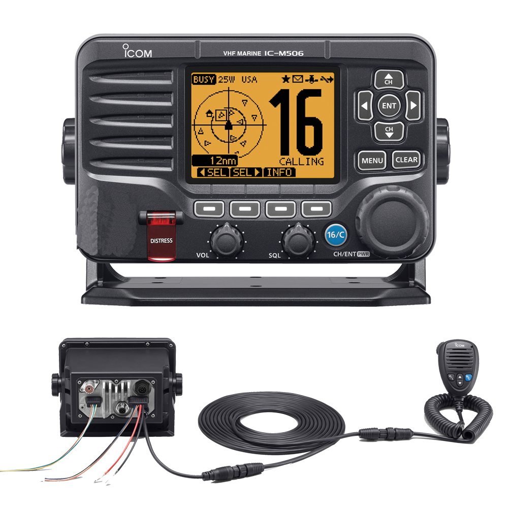 Icom M506 VHF Fixed Mount w/Rear Mic, AIS & NMEA 0183/2000® - Black