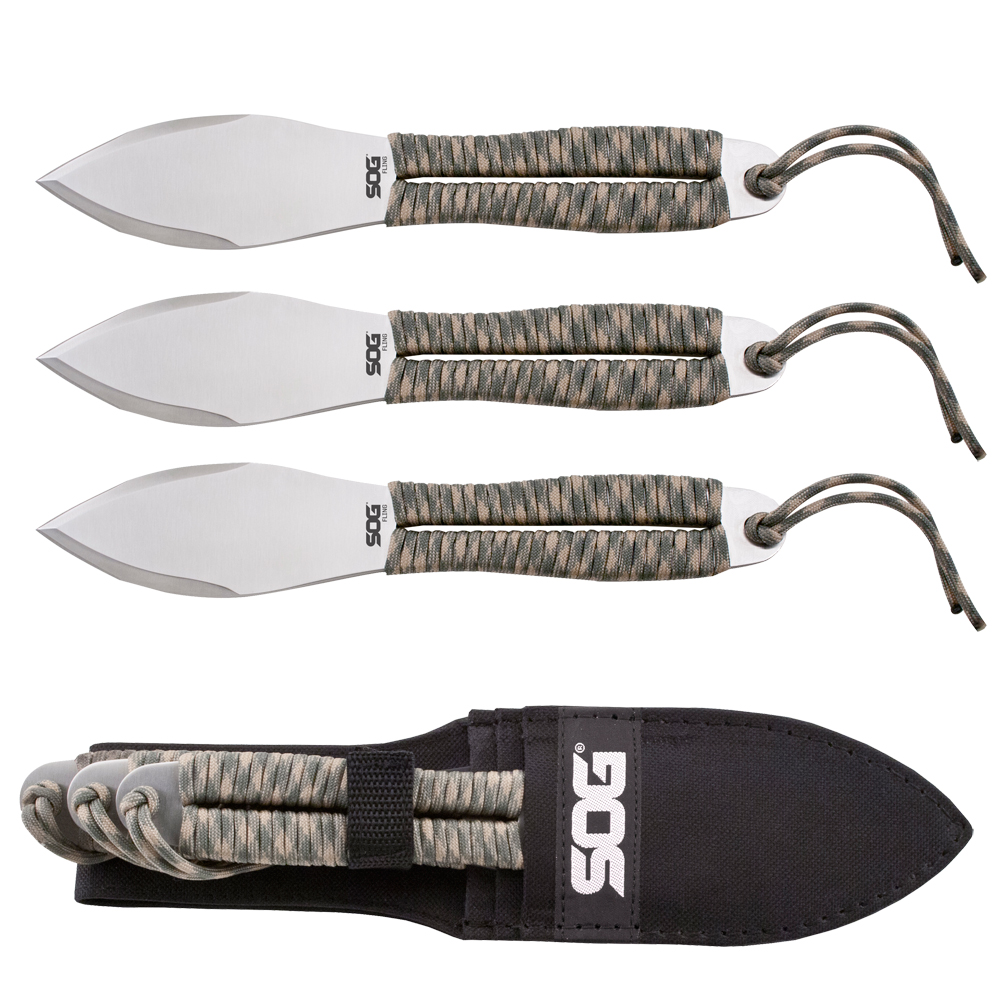SOG Fling Throwing Knives - 3 Pack - Polished Satin
