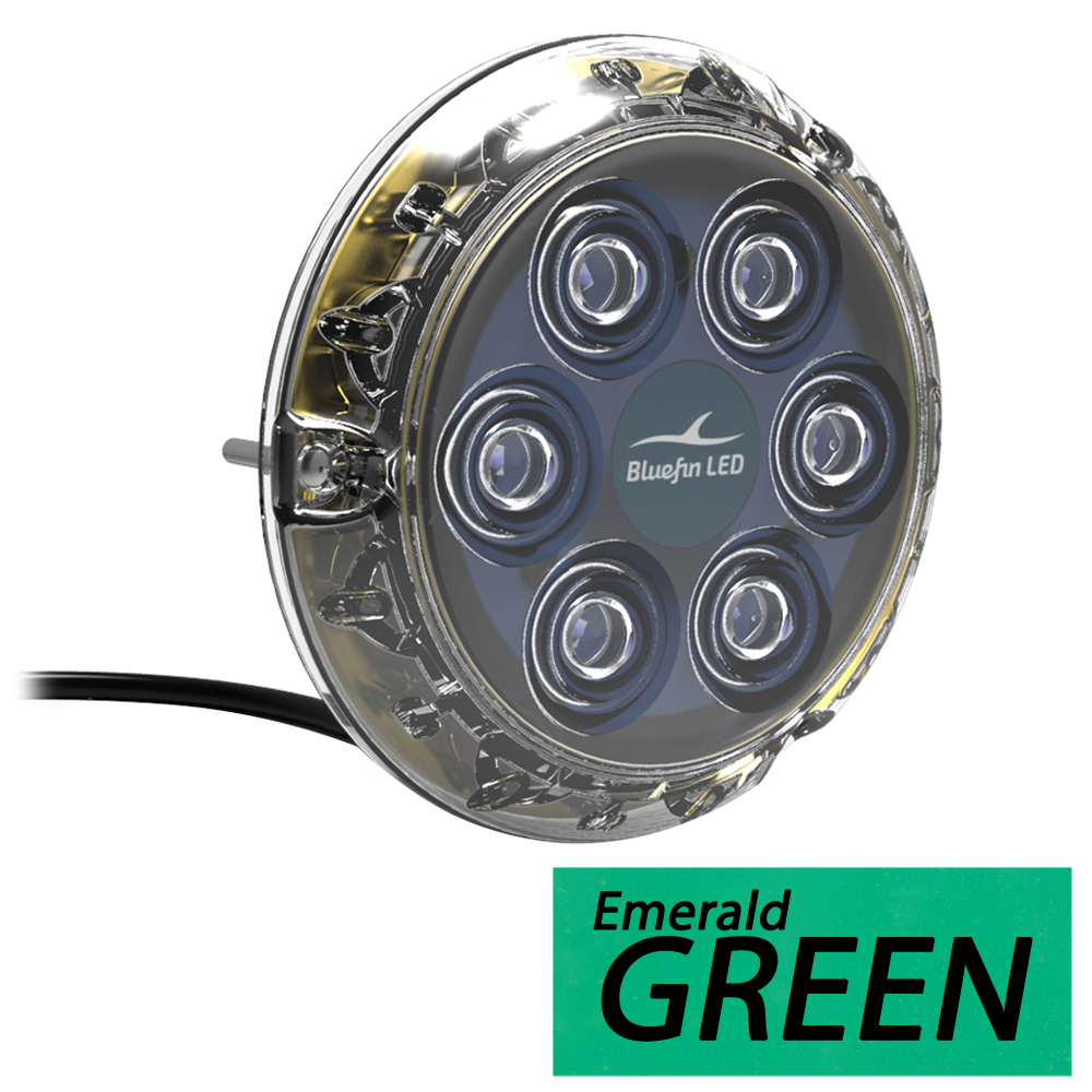 Bluefin LED Piranha P6 Surface Mount Underwater LED Light - 2100 Lumens - Emerald Green