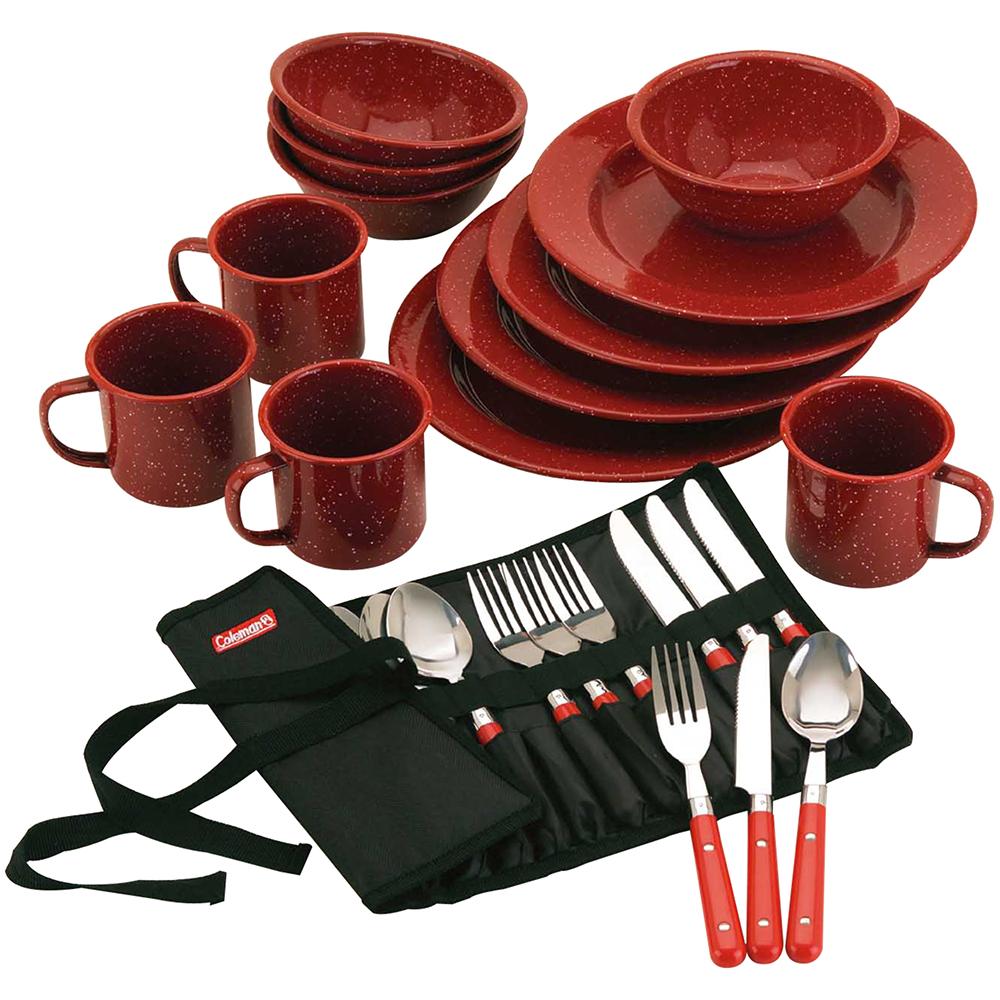 Coleman 24-Piece Speckled Enamelware Cook Set - Red