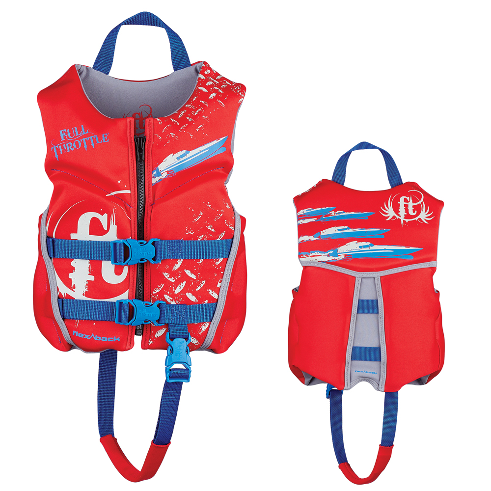 Full Throttle Hinged Rapid-Dry Flex-Back Life Vest - Child 30-50lbs - Red