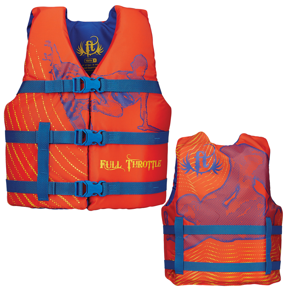 Full Throttle Character Life Vest - Youth 50-90lbs - Orange