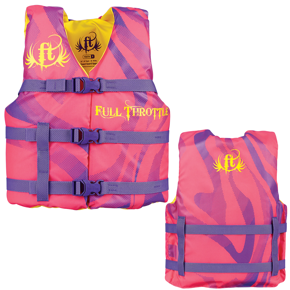 Full Throttle Character Life Vest - Youth 50-90lbs - Pink