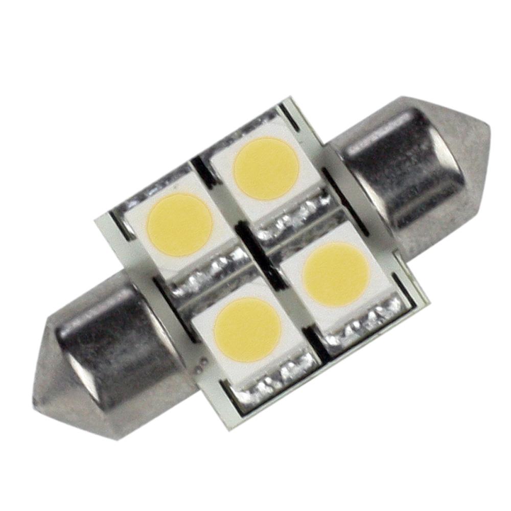 Lunasea Pointed Festoon 4 LED Light Bulb - 31mm - Cool White
