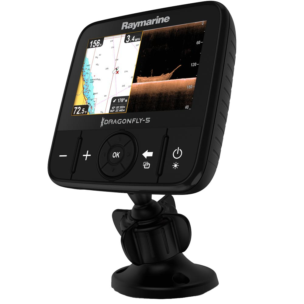 Raymarine Dragonfly 5 PRO US Combo w/T/M Transducer & U.S. Lakes, Rivers & Coastal Maps by C-MAP