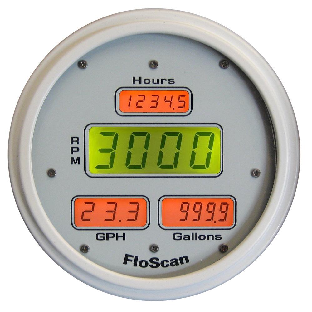FloScan 7200-20B-1 Fuel Meter - I/B, I/O & O/B - 350HP Max - White