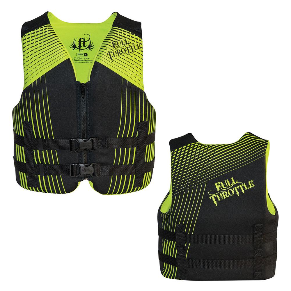Full Throttle Rapid-Dry Life Vest - Youth 50-90lbs - Black/Green