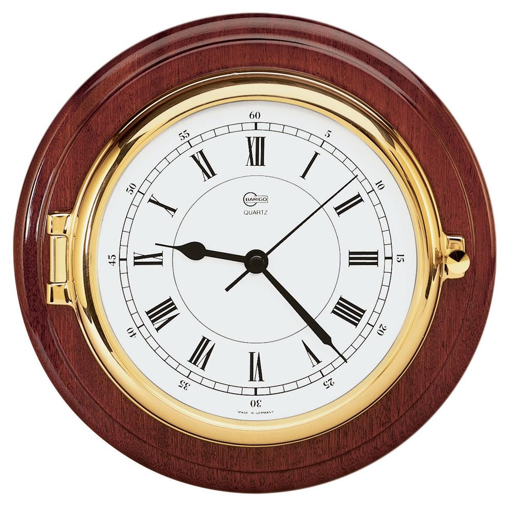 BARIGO Captain Series Clock - Brass & Mahogany - 6