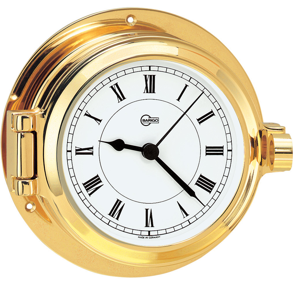 BARIGO Poseidon Series Porthole Quartz Ship's Clock - Brass Housing - 3.3
