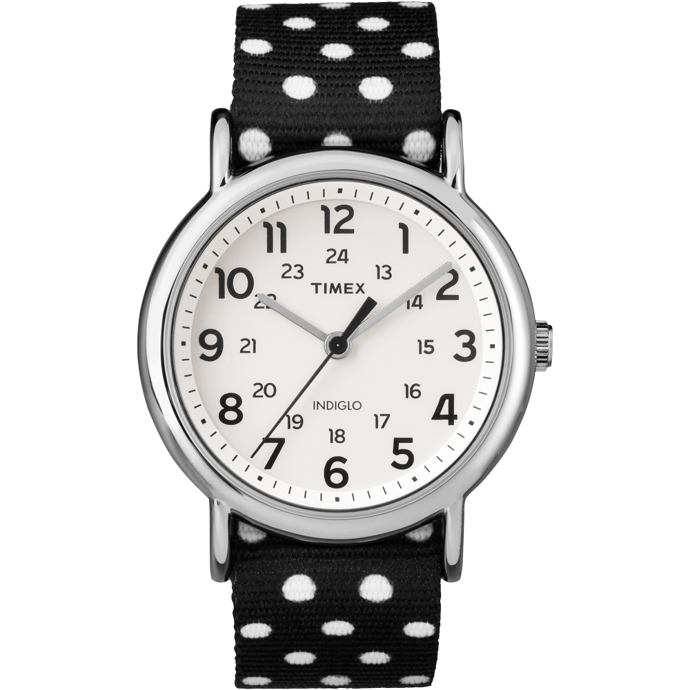 Timex Weekender Black/White Polkadot Print Reverse To Solid Color Watch - 38mm
