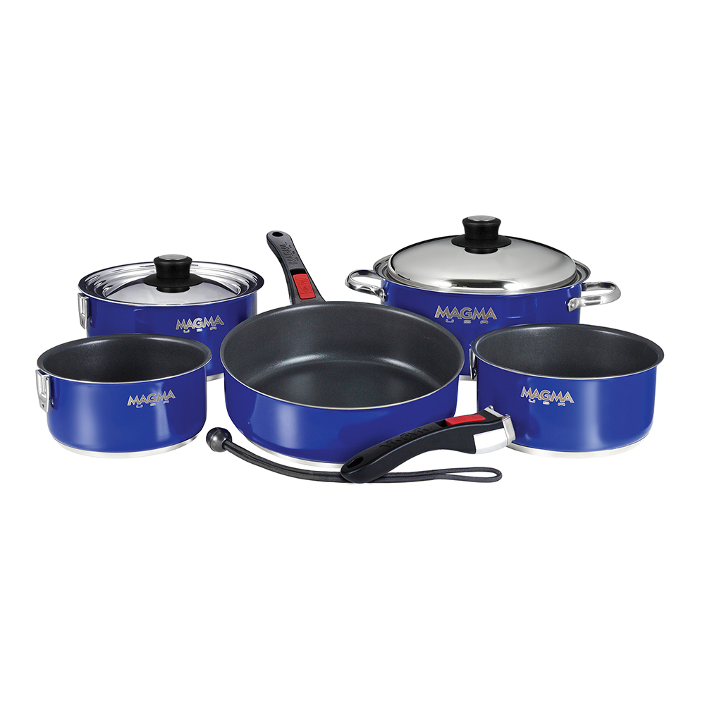 Magma Nesting 10-Piece Cookware - Cobalt Blue Exterior & Sla
