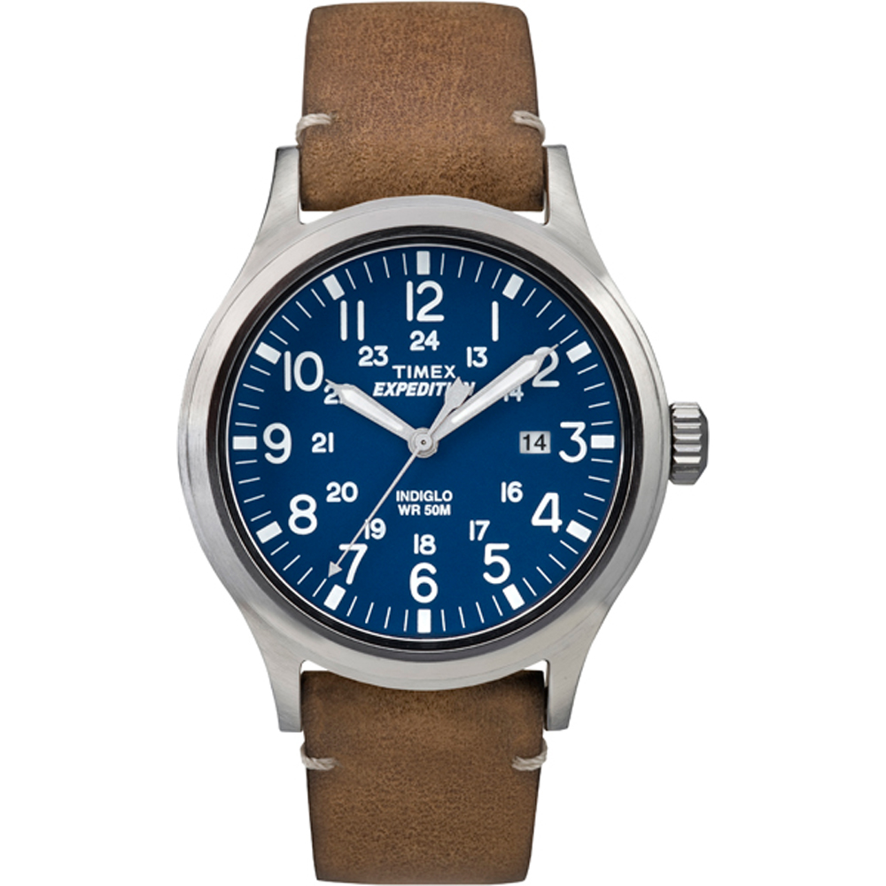 Timex Expedition Metal Scout - Tan Leather/Blue Dial