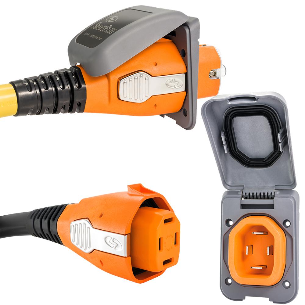 SmartPlug 50 Amp Non Metallic Gray Inlet & Plug Combo - Boat & RV