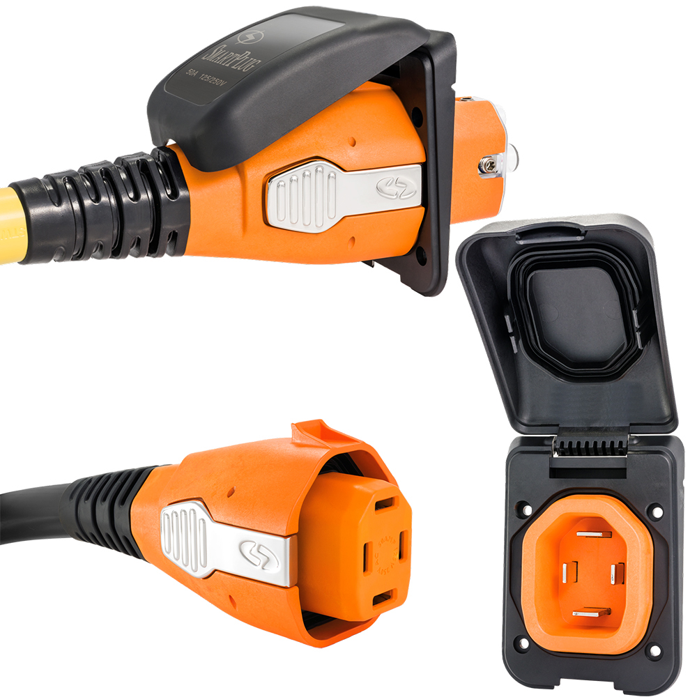 SmartPlug 50 Amp Non Metallic Black Inlet & Plug Combo - Boat & RV