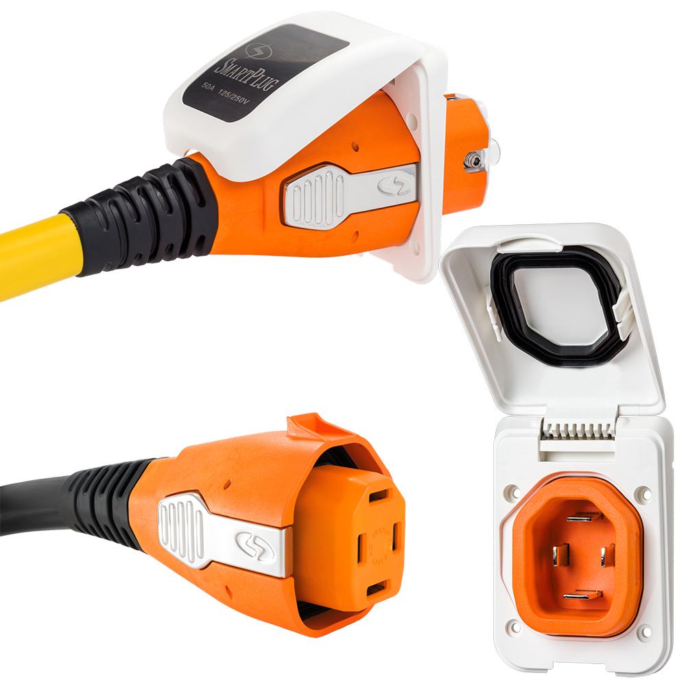 SmartPlug 50 Amp Non Metallic White Inlet & Plug Combo - Boat & RV