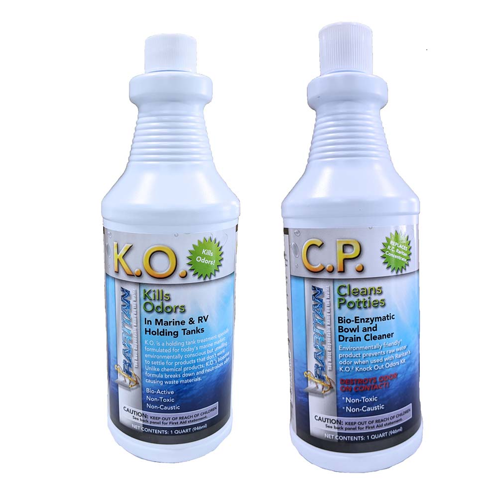 Raritan Potty Pack w/K.O. Kills Odors & C.P. Cleans Potties - 1 of Each - 22oz Bottles