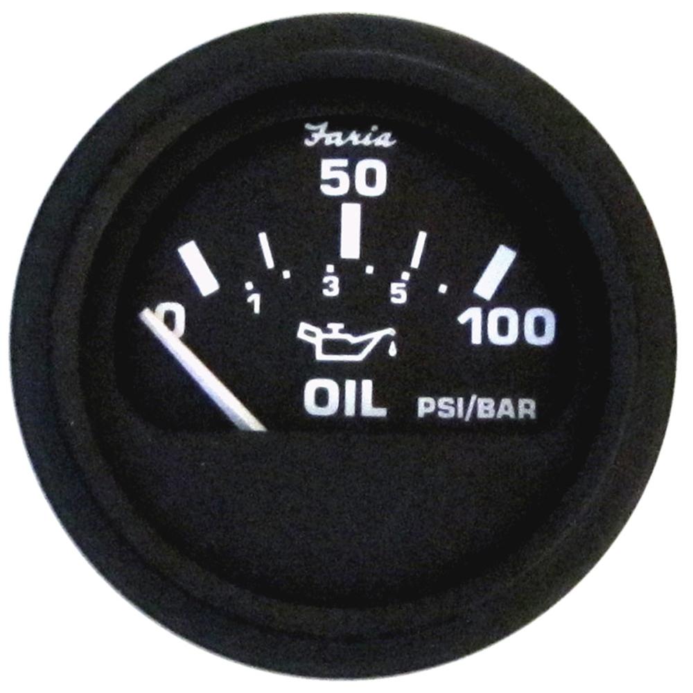Faria Euro Black Oil Pressure Gauge - 100 PSI