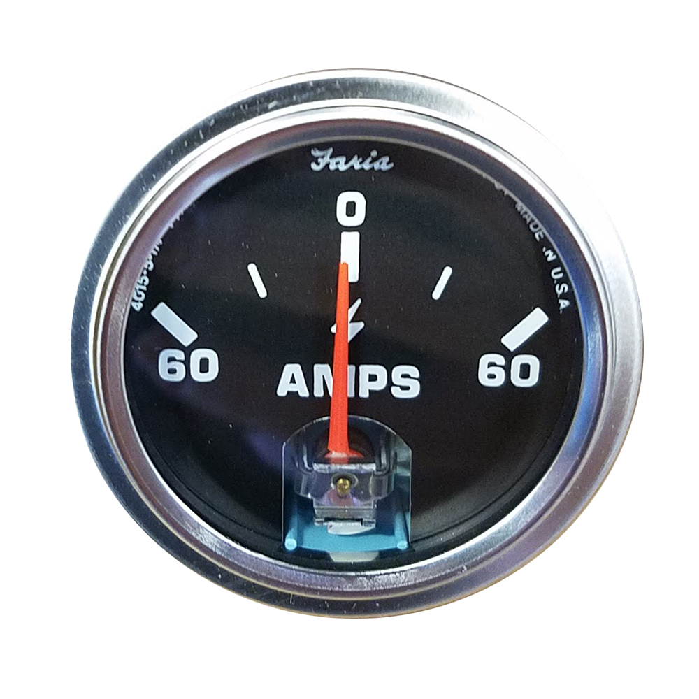 Faria Amp Gauge - Black w/Stainless Steel Bezel