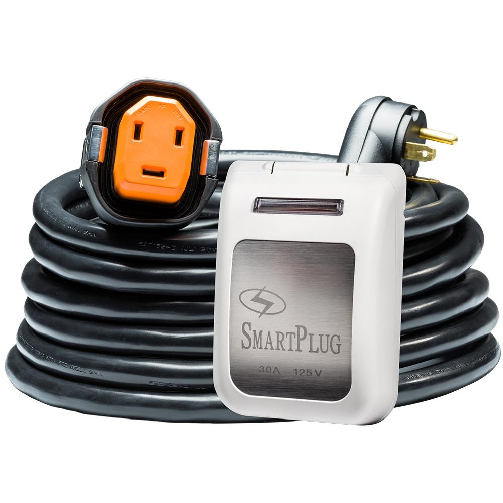 SmartPlug 30 Amp RV Kit 30' Dual Configuration Cordset - Black (SPS X Park Power) & Non Metallic Inlet - White