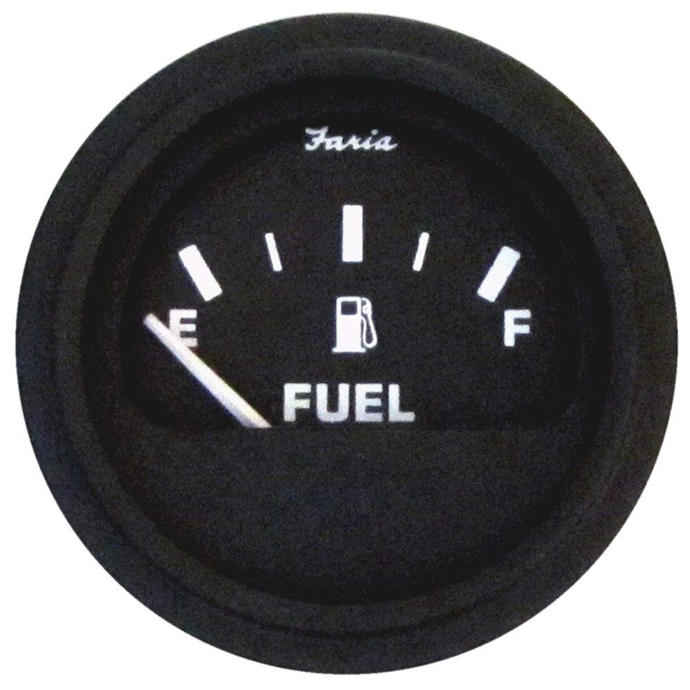 Faria Heavy-Duty Fuel Level Gauge - Black w/Black Bezel
