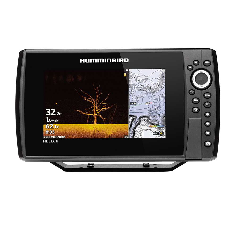 Humminbird HELIX 8 CHIRP MEGA DI Fishfinder/GPS Combo G3N with Transom Mount Transducer - 410820-1