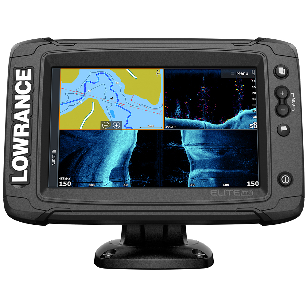 Lowrance Elite-7 Ti² Combo US Inland with Mid/High Skimmer Transom Mount, Active Imagingª 2-in-1 Transducer & Y Cable - 000-14642-001