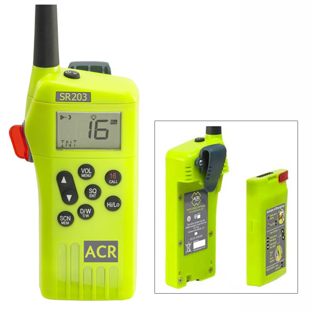ACR SR203 GMDSS Survival Radio w/Replaceable Lithium Battery & Rechargable Lithium Polymer Battery & Charger CD-45534