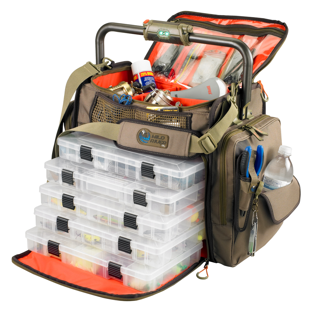 Wild River FRONTIER Lighted Bar Handle Tackle Bag with 5 PT3700 Trays - WT3702