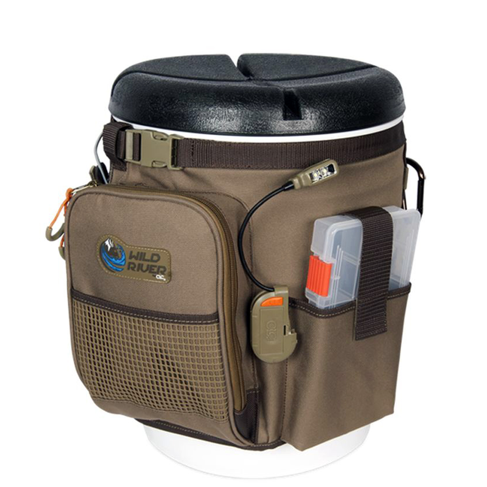 Wild River RIGGER 5 Gallon Bucket Organizer with Lights, Plier Holder & Lanyard, 2 PT3500 Trays & Bucket with Seat - WT3507