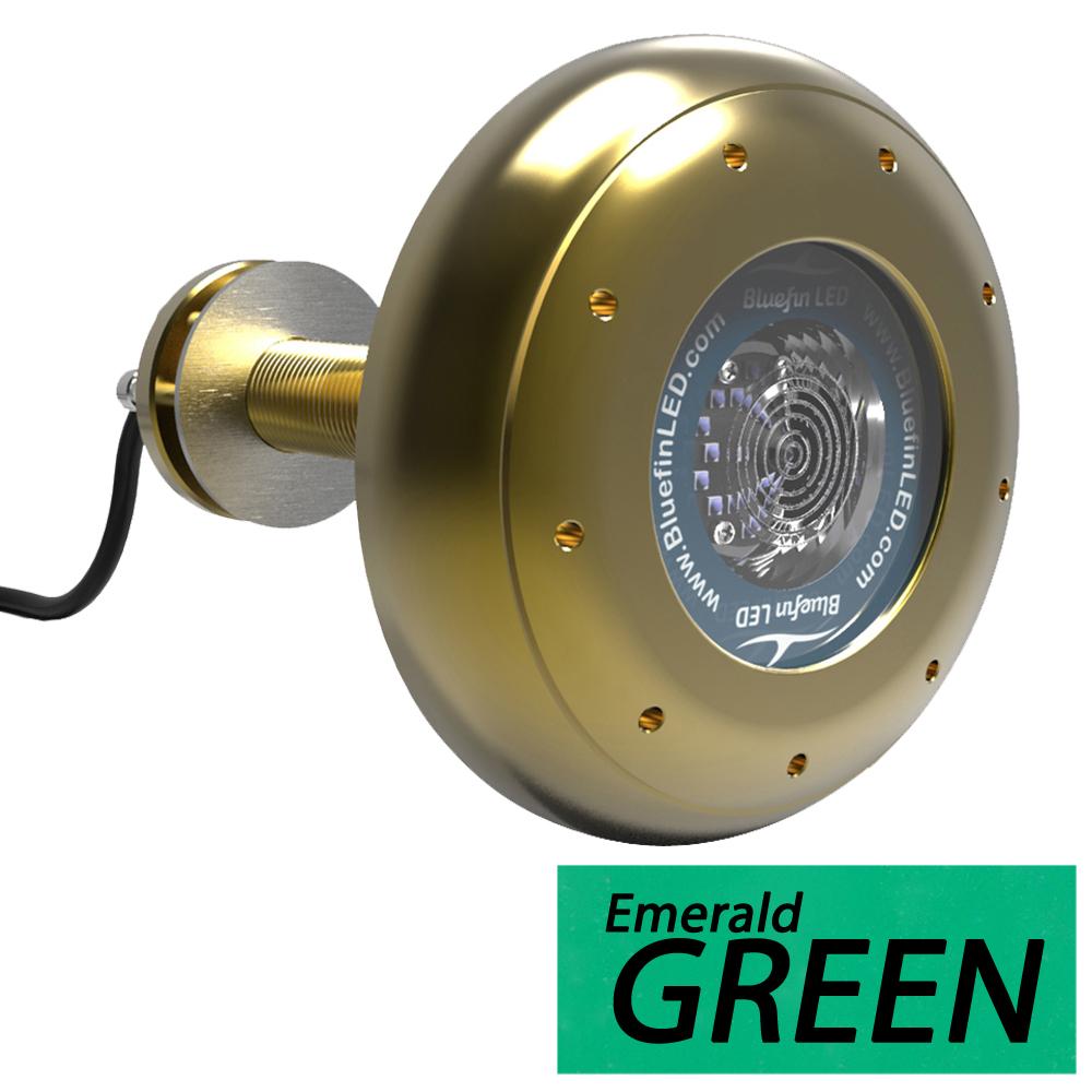 Bluefin LED Stingray S20 Thru-Hull Underwater LED Light - 12,500 Lumens - Emerald Green - S20-TH-G302