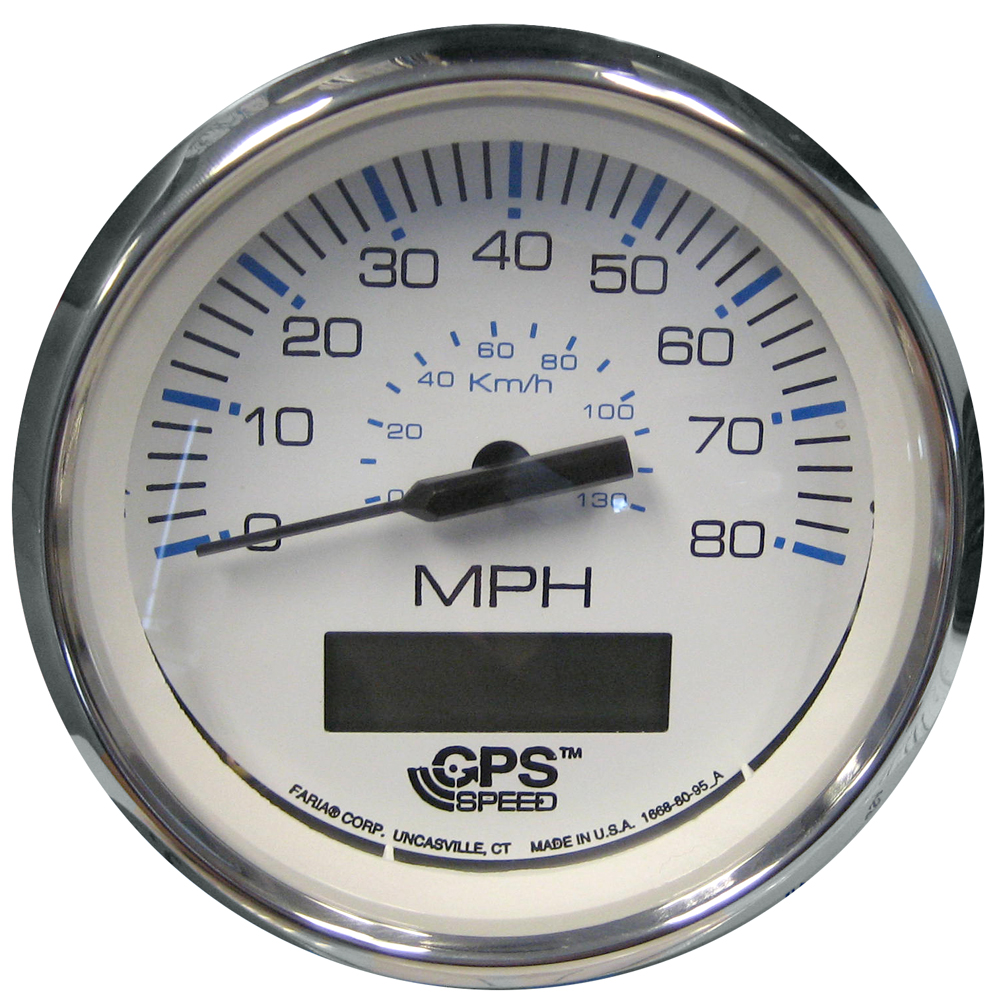"Faria Chesapeake White SS 4"" Speedometer w/LCD Heading Display - 80MPH (GPS) CD-54733"