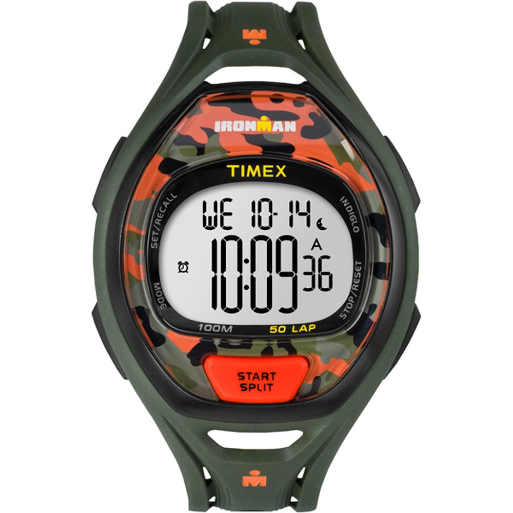 Timex Ironman Sleek 50 Full-Size Watch - Green/Orange Camo - TW5M012009J