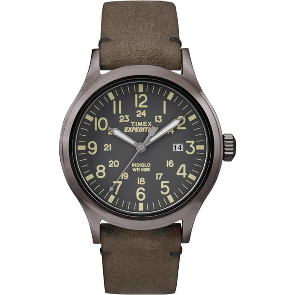 Timex Expedition Scout Metal - Brown Leather/Gray Dial - TW4B017009J
