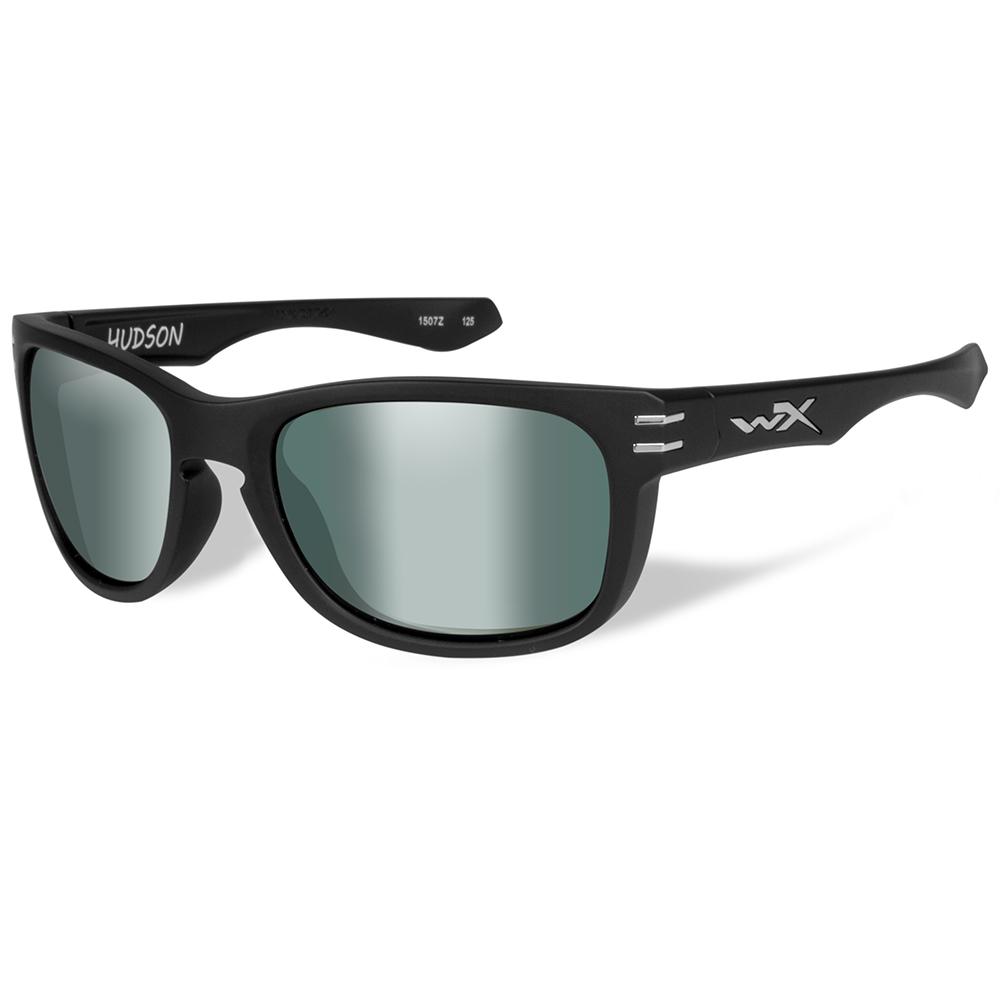 Wiley X Hudson Polarized Sunglasses - Platinum Flash Lens - Matte Black Frame - ACHUD05