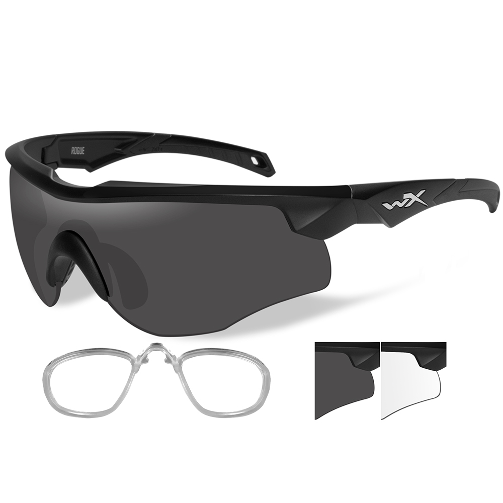 Wiley X Rogue Sunglasses - Smoke Grey/Clear Lens - Matte Black Frame with Rx Insert - 2801RX