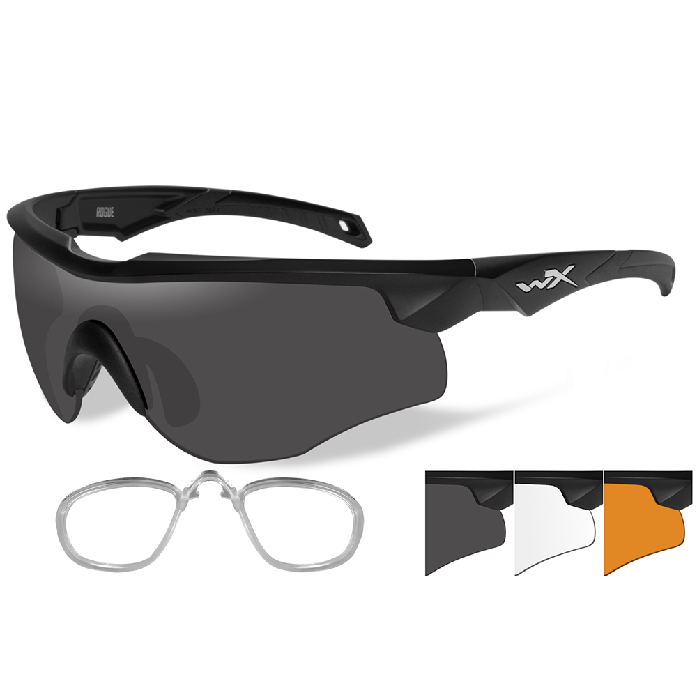 Wiley X Rogue Sunglasses - Grey/Clear/Rust Lens - Matte Black Frame with Rx Insert - 2802RX