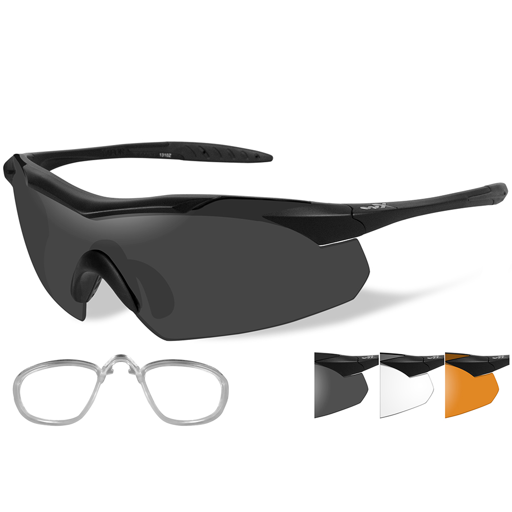 Wiley X Vapor Sunglasses - Smoke Grey/Clear/Rust Lens - Matte Black Frame with Rx Insert - 3502RX