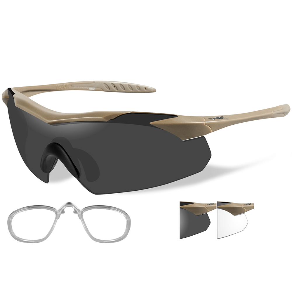 Wiley X Vapor Sunglasses - Smoke Grey/Clear Lens - Tan Frame with Rx Insert - 3511RX