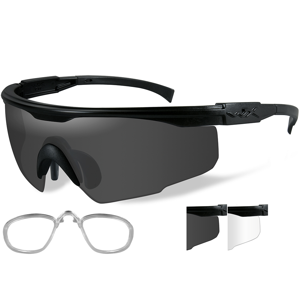 Wiley X PT-1 Sunglasses - Smoke Grey/Clear Lens - Matte Black Frame with Rx Insert - PT-1SCRX
