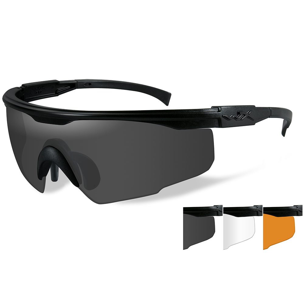 Wiley X PT-1 Sunglasses - Smoke Grey/Clear/Rust Lens - Matte Black Frame - PT-1SCL