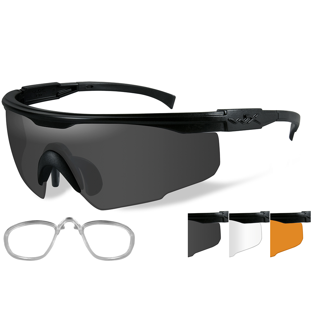Wiley X PT-1 Sunglasses - Smoke Grey/Clear/Rust Lens - Matte Black Frame with Rx Insert - PT-1SCLRX
