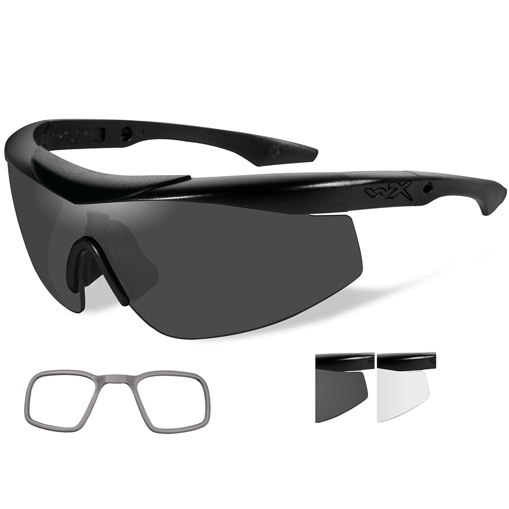 Wiley X Talon Sunglasses - Smoke Grey/Clear Lens - Matte Black Frame with Rx Insert - CHTLN1RX