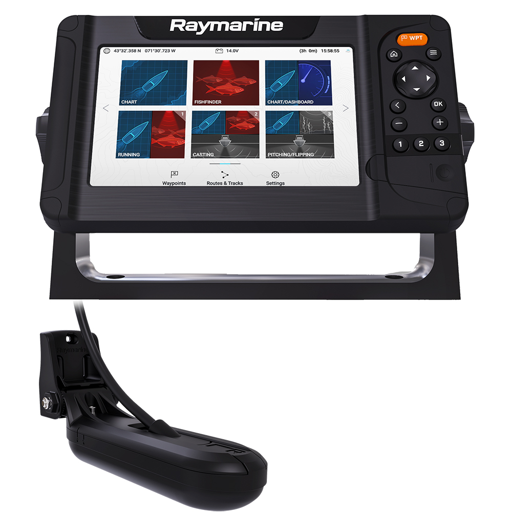 Raymarine Element 7 HV Combo with HV-100 Transducer and LNC2 Chart with Fishing Hot Spots - E70532-05-101