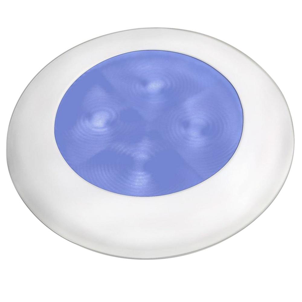 Hella Marine Blue LED Round Courtesy Lamp - White Bezel - 24V - 980503241