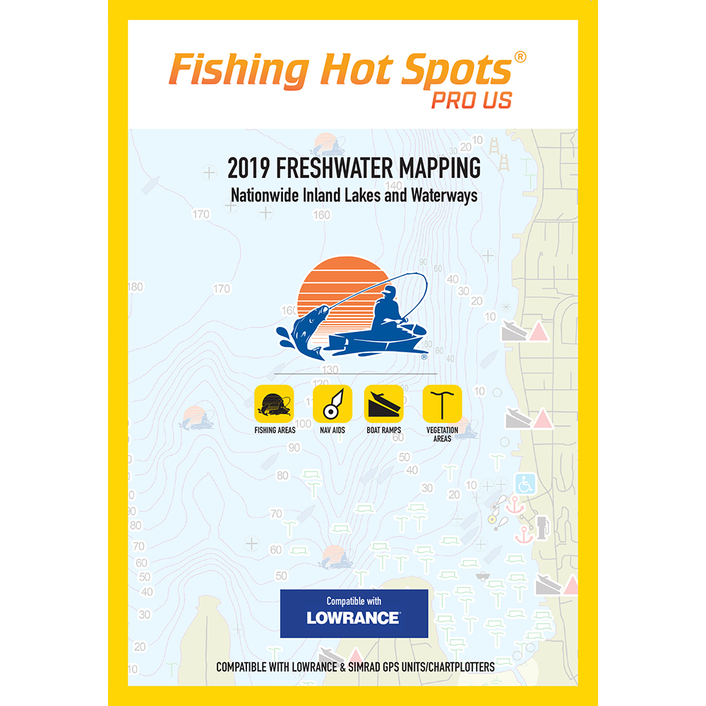 Fishing Hot Spots PRO USA 2019 Freshwater Mapping Nationwide Inland Lakes and Waterways f/Lowrance and Simrad Units - E119