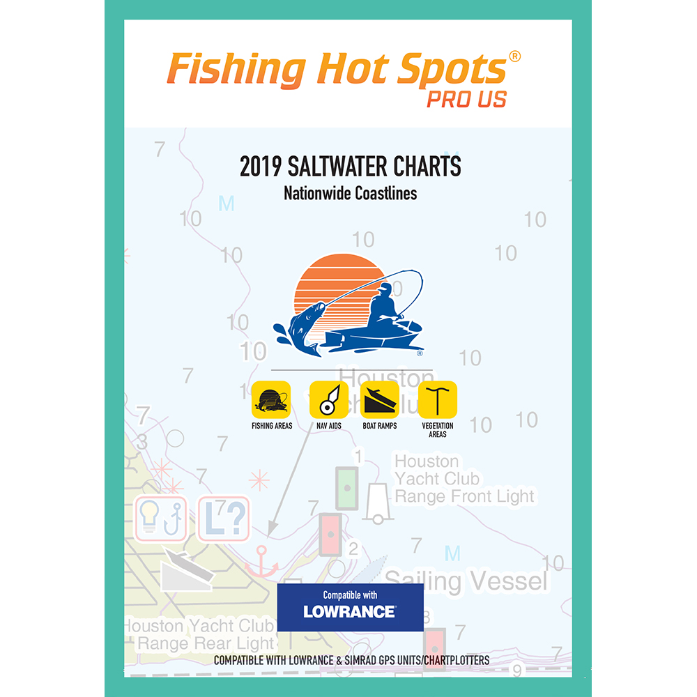 Fishing Hot Spots Pro SW 2019 Saltwater Charts Nationwide Coastlines f/Lowrance and Simrad Units - E189