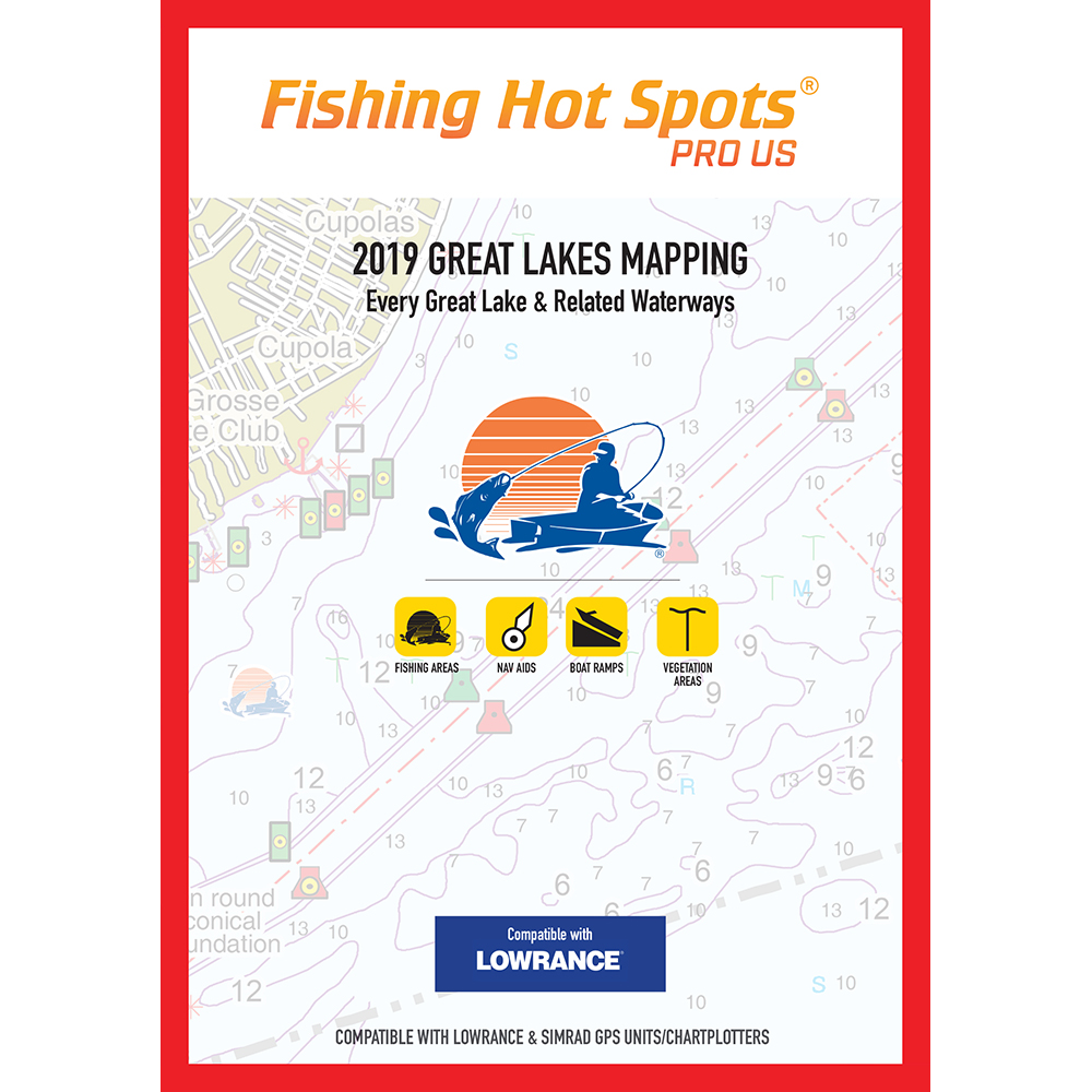 Fishing Hot Spots Pro GL 2019 Great Lakes Mapping Every Great Lake and Related Waterway for Lowrance and Simrad Units - E229
